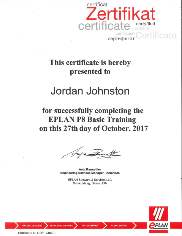 Johnston receives EPLAN Training certification • Pigler Automation