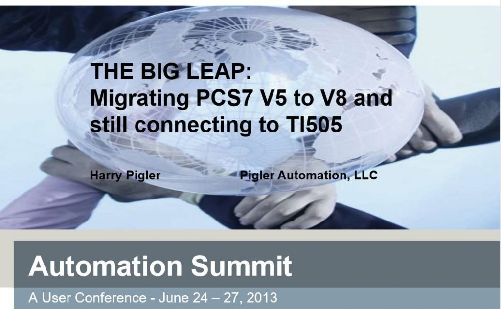 image of title card for The Big Leap presentation of migrating PCS7 version 5 to version 8